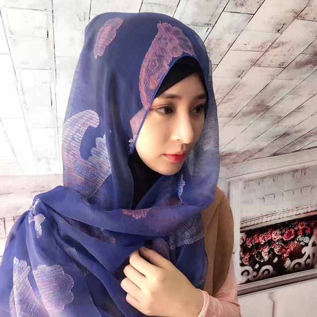 US $12 37 30% OFF Fashion Islam women's hijab high quality Turkish  Indonesian pashmina flowers scarves headwear girl's cap many colors  180*70CM-in