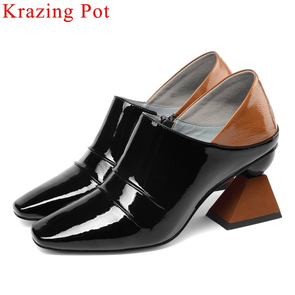 Krazing Pot high quality European fashion runway zipper full grain leather plus size women pumps mixed