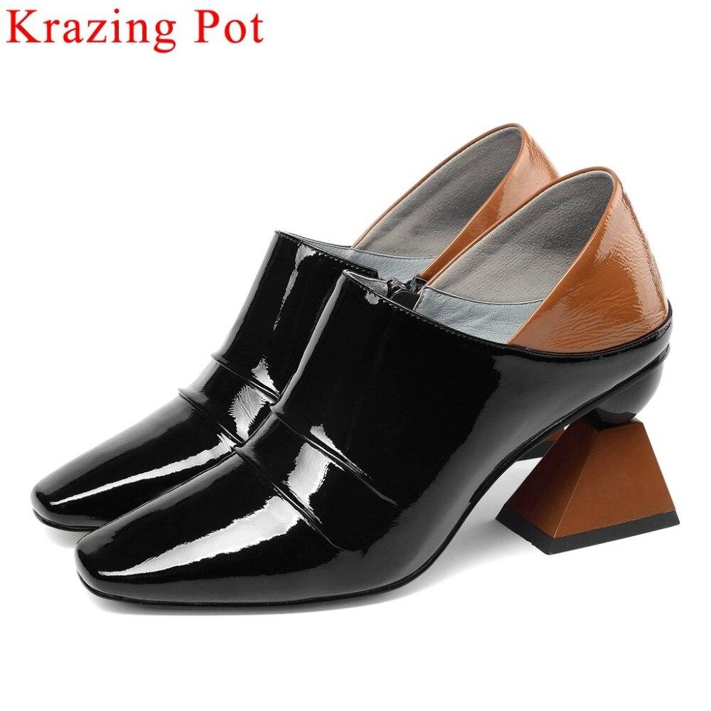 Krazing Pot high quality European fashion runway zipper full grain leather plus size women pumps mixed colors dress shoes L00-in Women's Pumps from Shoes    1
