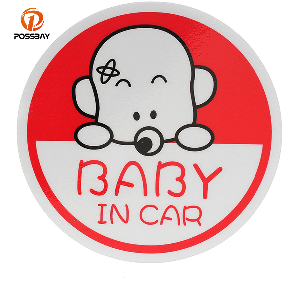 POSSBAY 3D Cartoon Baby On Board Baby In Car Warning Decal Reflective Waterproof Car Window Rear Windshield Stickers