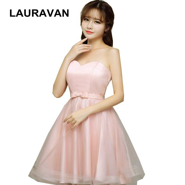 Pink Teen Lace Up Back Sweet 16 Short Puffy Princess Strapless Sweet Ball Gown Bridesmaid Dress Gowns 2019 Dresses For Woman