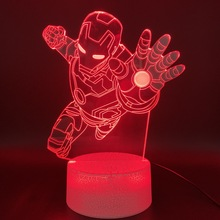 3d Optical Led Night Light Lamp Marvel Iron Man Figure Office Room Decorative Table Lamp Cool Kids Gift Child Nightlight Ironman цена и фото