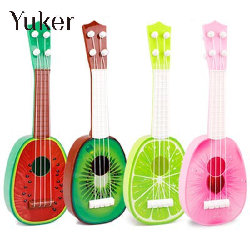 Yuker 32CM Children Kids Learn Guitar 4 String Ukulele Creative Cute Mini Fruit Can Play Musical Instruments Color Random mini handheld 17 6 string electric guitar toy random color 2 aa