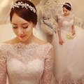 2015 new store wedding dress plus size wedding dress pregnant women backless one word shoulder lace princess long sleeve
