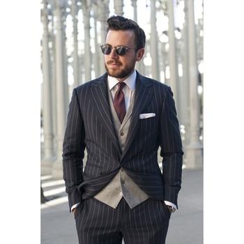 Custom Made Black Stripe Pattern Men Suit Formal Slim Fit Blazer Prom Men Tuxedo 3 Pcs Men Suits (Jacket+Pants+Vest)G561