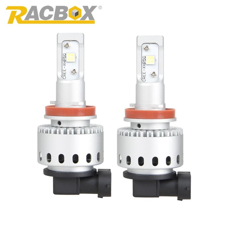 RACBOX Pair 80W LED Headlight Bulb Lamp Light Kit H7 H8 H9 H11 9005 HB3 9006 HB4 H4 Car LED DRL Fog Light With CREE LED Chips