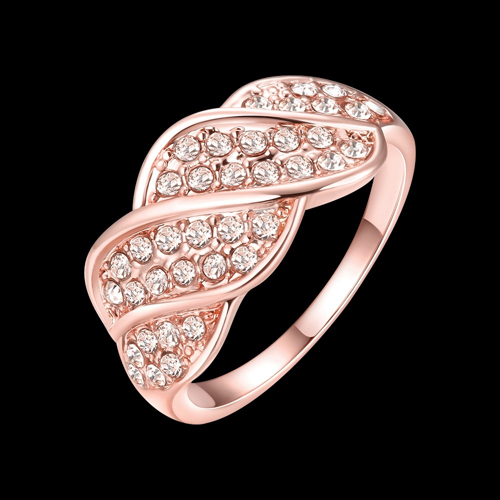 GNIMEGIL 2017 Women Fashion Rose Gold Color Twisted Ring Paved Clear ...