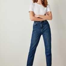 Trendyol синий Высокая Талия мама 80s повседневные Прямые джинсы под руководством для дам с TCLSS19LR0047