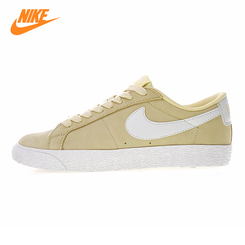Nike SB Zoom Blazer Low Shoes men and women Walking shoes, light yellow, wear-resistant Lightweight Non-slip 864347 700 nike sb кеды sb nike blazer zoom mid xt черный св коричневая резина белый 9 5