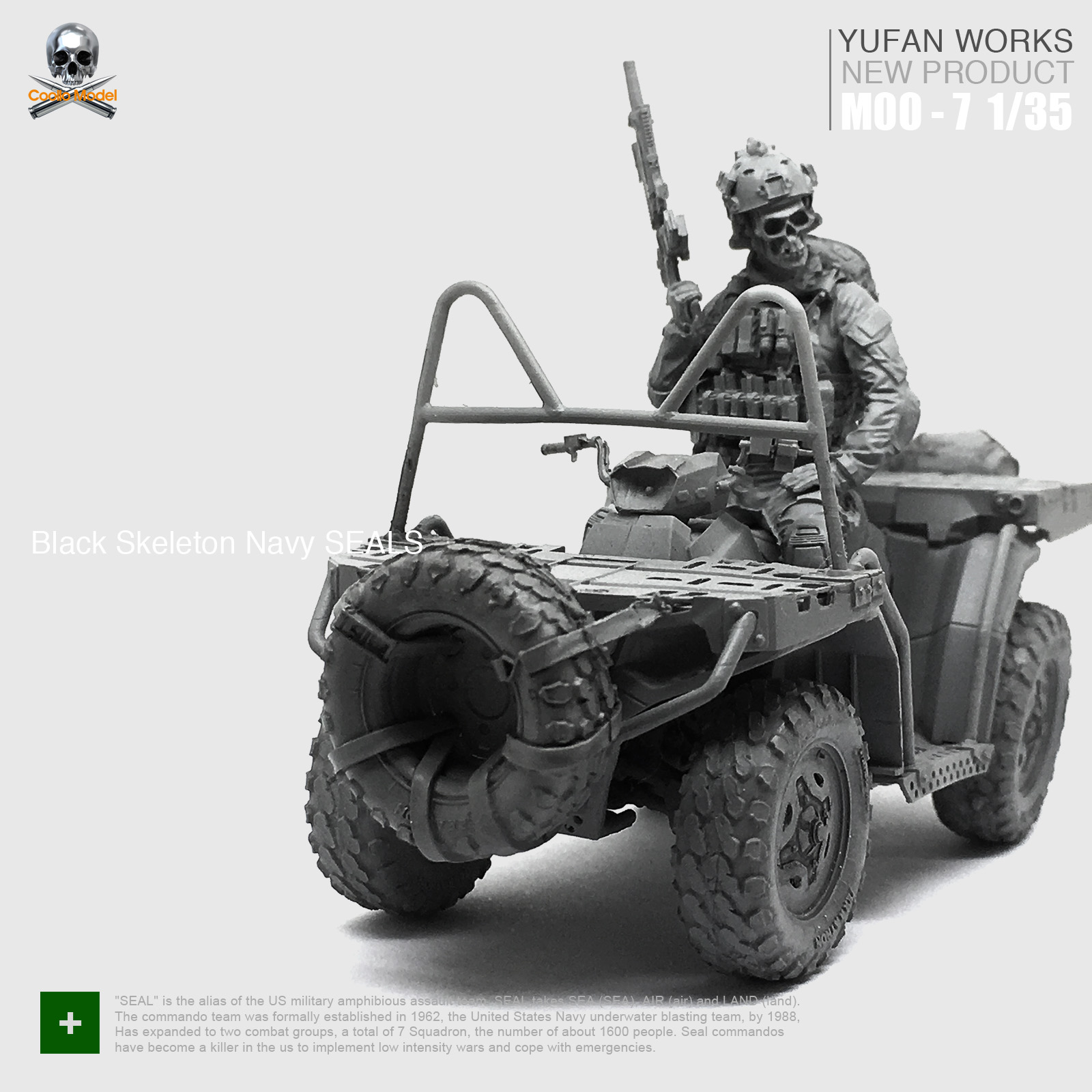 1/35 Resin Figure Kits Soldier + Terrain Car Black Skeleton Navy Seals MOO-07 Unassembled Unpainted 1 16 figure resin model kits ww2 masked soldier unpainted and not assembled free shipping 87g