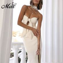 Женское облегающее платье бандо max spri однотонное белое средней