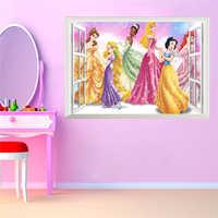 Pegatinas de pared 3D ventana Falsa Princesa para habitaciones de niños decoración del hogar DIY Adesivo de Parede dormitorio Mural regalo de niña cartel