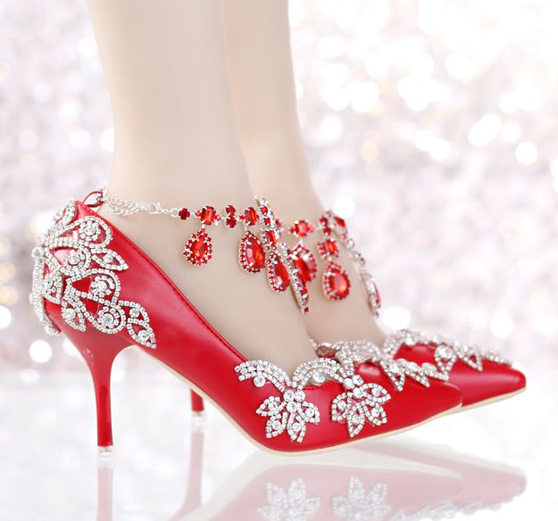 ФОТО 9CM super high thin heels red pumps shoes woman luxury crystals ankle bracelet rhinestones woman wedding party shoes TG716