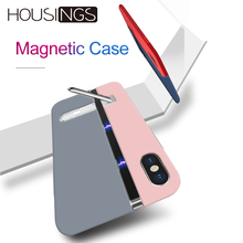 Housings Magnetic Liquid Silicone Cases For iPhone XR Xs Max Cover 7 8 6 6s Plus Coque Shockproof Holder Soft Bumper