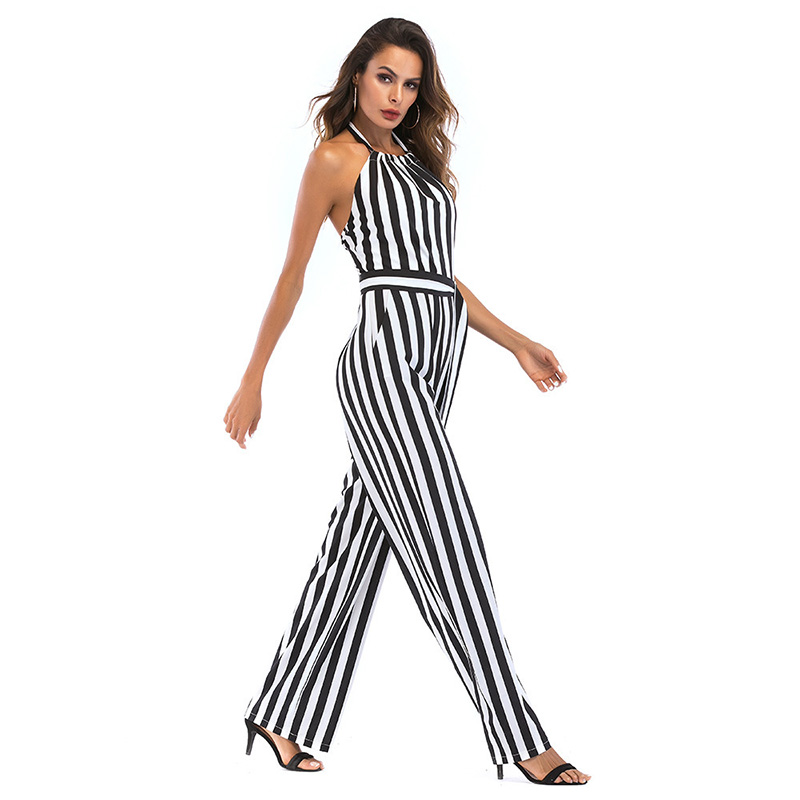d5b6729e2144 2019 Bohoartist Summer Women S Jumpsuit Black White Striped ...