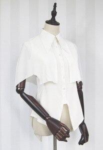 Szyfonowa bluzka Harajuku gotycka koszulka z krótkim rękawem i peleryną Dolly Delly