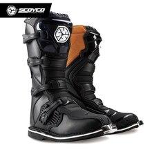SCOYCO Off road długi sprzęt wyścigowy buty Motocross motocykl jazda długie kolana wysokie buty ciężki ochronny sprzęt buty