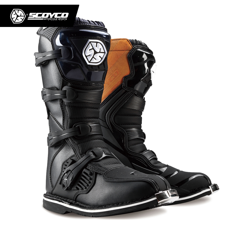 Scoyco fora de estrada longas botas de engrenagem de corrida motocross moto equitação joelho longo sapatos altos pesados botas de engrenagem de proteção