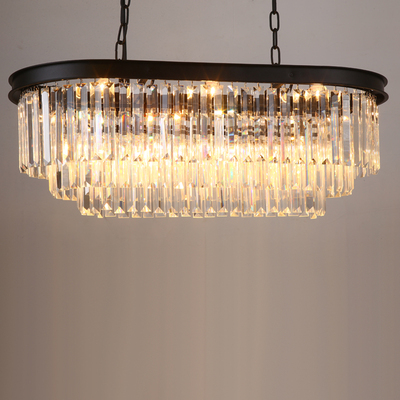 Stadium oval RH American retro vintage hanging chain pendant light lamp LED dinning room crystal glass ceiling pendant lamp LED