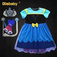 купить Summer 1 - 6 Years Snow Queen Christening Ball Gown Infant Birthday Party Dress Kids Elsa Princess Newborn Girl Baby Clothing по цене 481.32 рублей