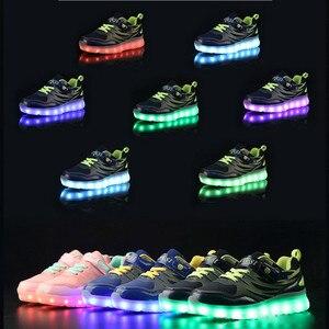 Image 5 - Größe 25 37 Kinder LED Sneaker Jungen Schuhe USB Lade Kinder Schuhe mit Licht up Luminous Mädchen Glowing Turnschuhe schule Schuhe