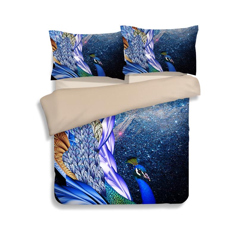 modern peacock print reina rey juego de cama de polister suave doble funda de edredn de