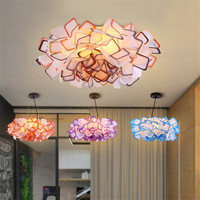 Handcraft Colorful Gradient Acryl Flower Led Pendant Light Bedroom Dining Room Hanging Suspendant Lighting Fixture