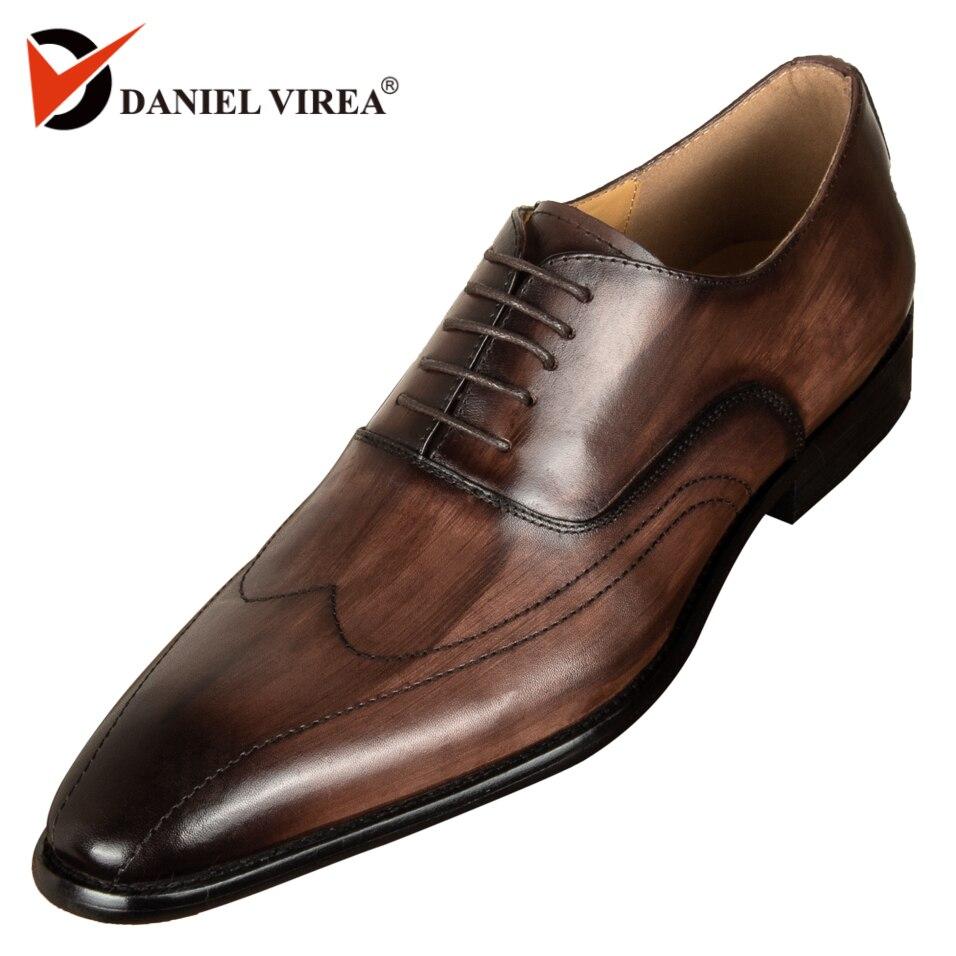 Hommes Chaussures En Cuir Véritable Bout Pointu À La Main Bureau D'affaires Mixte Couleur Café De Luxe De Mariage Robe Formelle Chaussures de Oxfords Hommes