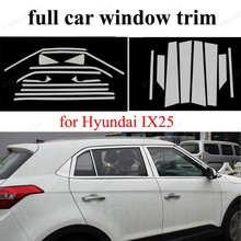 Exterior Accessories  with center pillar Decoration Strip Car Styling Stainless Steel full Window Trim For H-yundai IX25