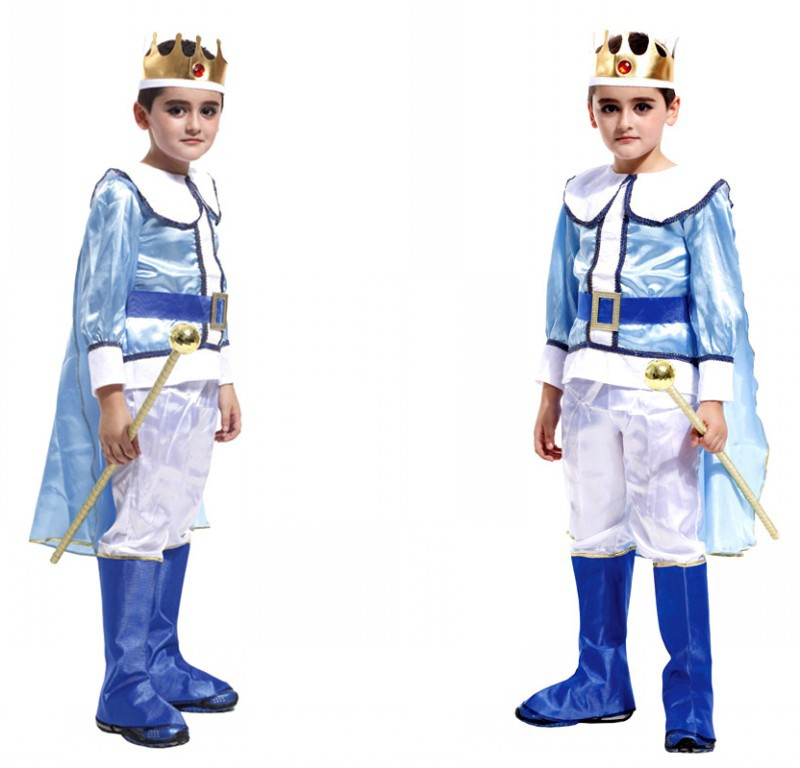 Fashion Children Arabian Prince Cosplay Costume for Party Boy Stage Dance Clothing with Crown Free Shipping 89