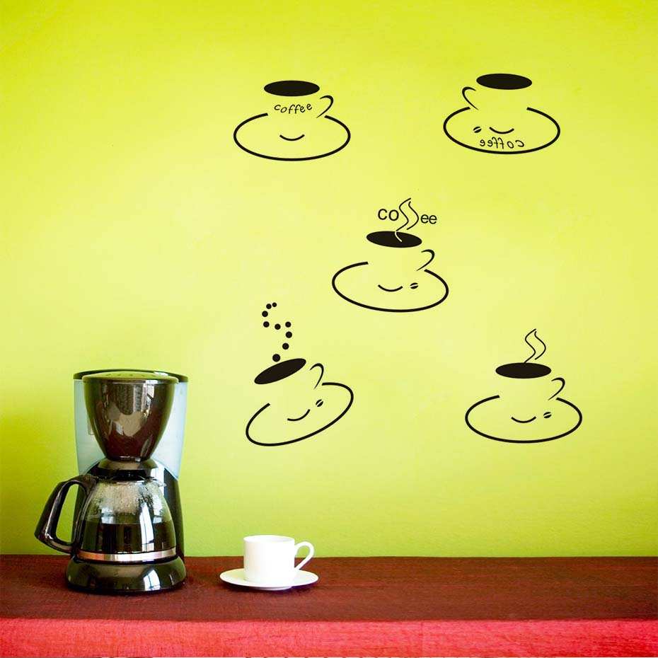All Kind Of Cute Coffee Cup Wall Removable Wall Sticker Kitchen ...