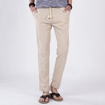 New spring man casual pants linen breathable elastic male trousers high waist hemp rope belt pencil for boys balck XXXL