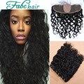 Cierre frontal del cordón base de seda con los paquetes rosa queen hair products 3 bundles mucho la onda de agua virginal brasileña del pelo con cierre
