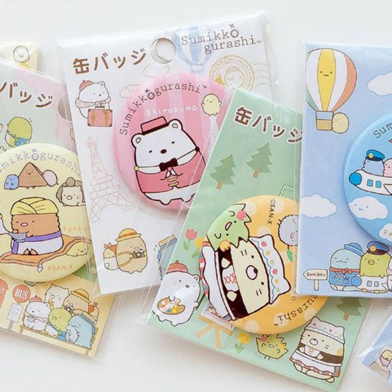 1 Pc Cute Cartoon Sumikko Gurashi San-x Corner Bio Badges Icons On The Backpack Pin Brooch Badge Cosplay Figure Toys