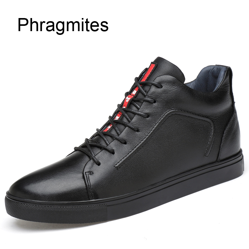 Phragmites Black Adult Students Sneakers Cow Leather Winter Shoes Men Free Shipping Sale Bot Fashion Plus Size Boots