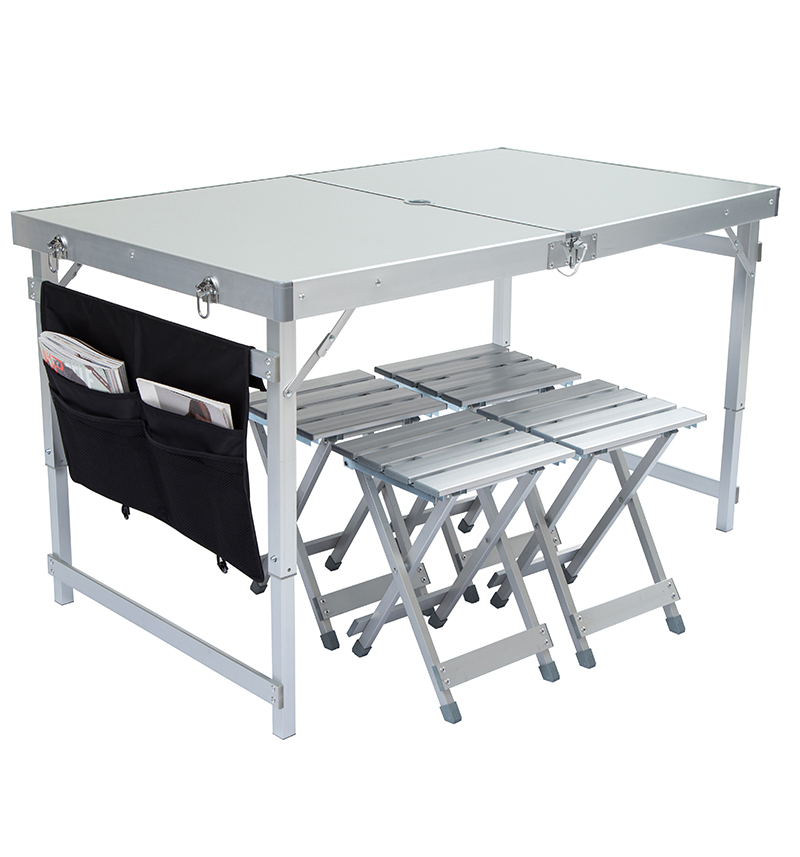 Folding Outdoor Table And Chair Set Aluminum Camping Table Stable Height Adjustable With Four Stools Bearing 150kg