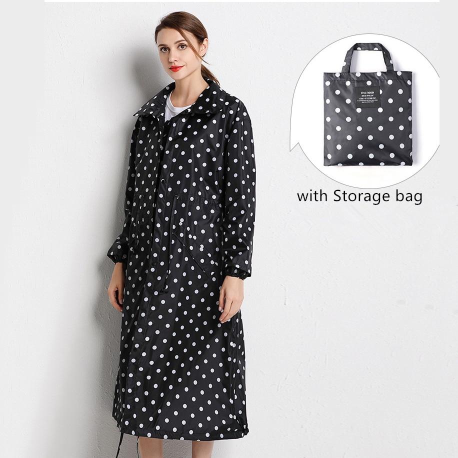 Yuding Women Raincoat Handbag Black Waterproof Light-Long Fashion with Hooded
