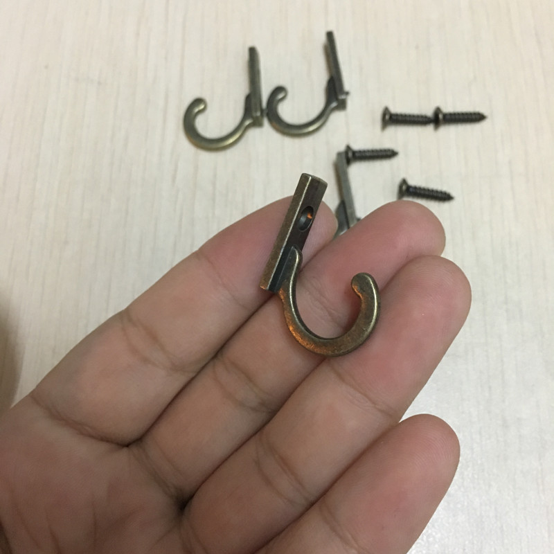 Key Mini Hangers,Antique Style Metal Bronze Hook Decorative Furniture Wood Board Mounted Robe Hooks,28*22mm,4Pcs