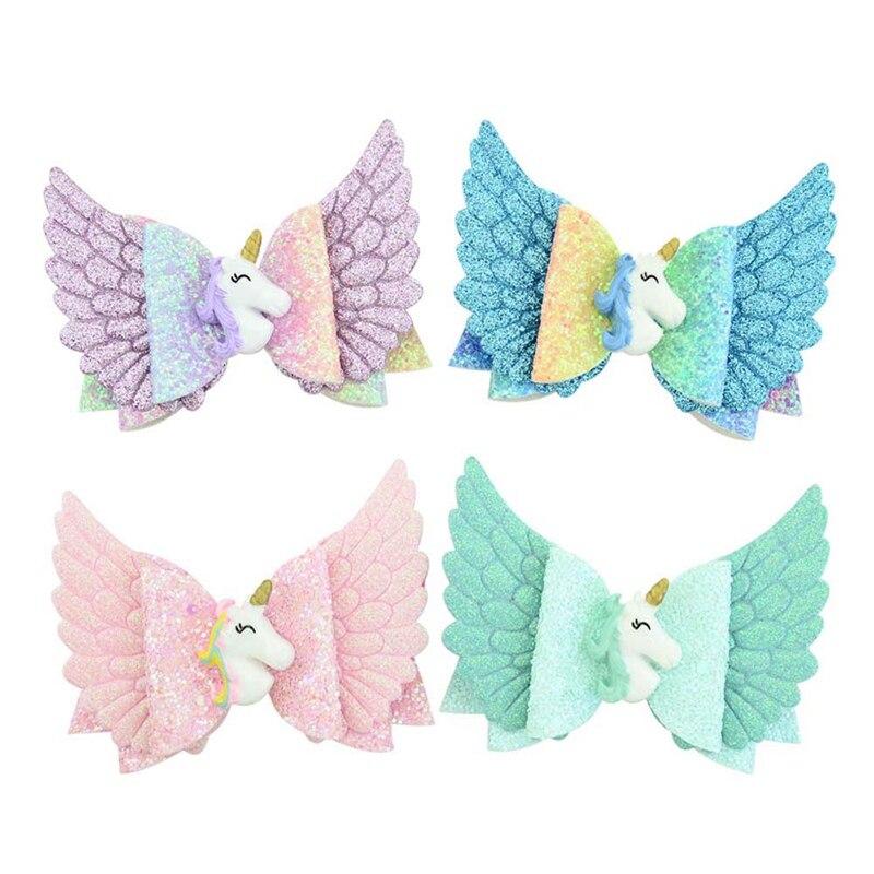 4 Stuks Mix Kleur Glitter Angel Wing Haarelastiekjes Eenhoorn Bows Meisjes Haarspelden Fairy Clips Handgemaakte Haarspeldjes Party Outfit Hoofddeksels
