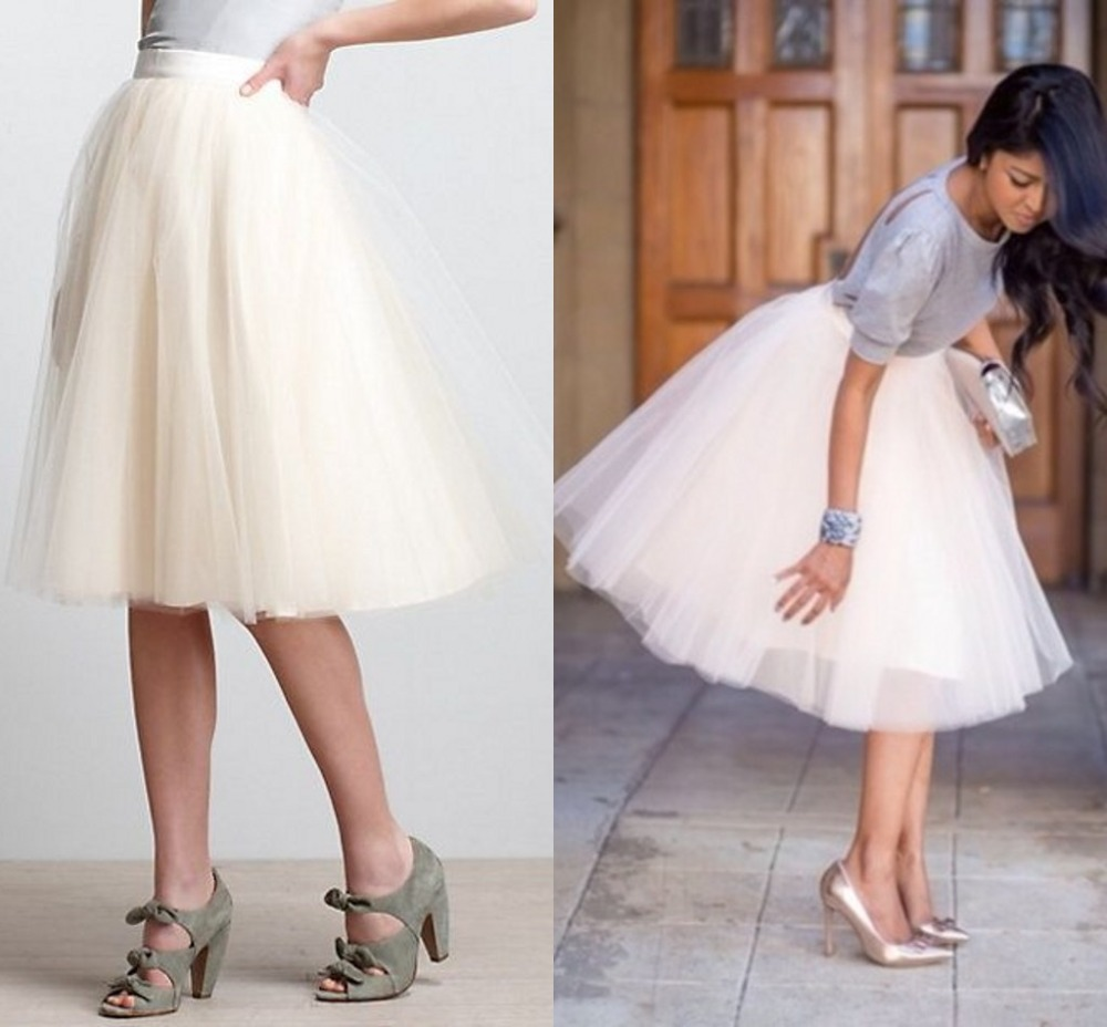 Women Skirt Girl Pretty Elastic Waist Tutu Princess Puffy Short Tulle Fashion All Color Knee Length Sheer In Skirts From Womens Clothing