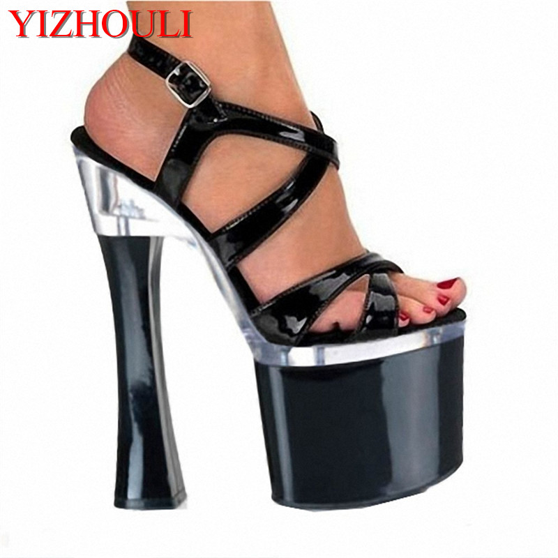 Sexy Womens Shoes Thick Super 18CM Sexy High-Heeled Shoes Sandals Black Platform Performance / Star /Model ShoesSexy Womens Shoes Thick Super 18CM Sexy High-Heeled Shoes Sandals Black Platform Performance / Star /Model Shoes