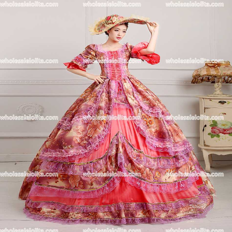 CALIENTE!! Global FreeShipping Floral Elegante Vestido Medieval ...
