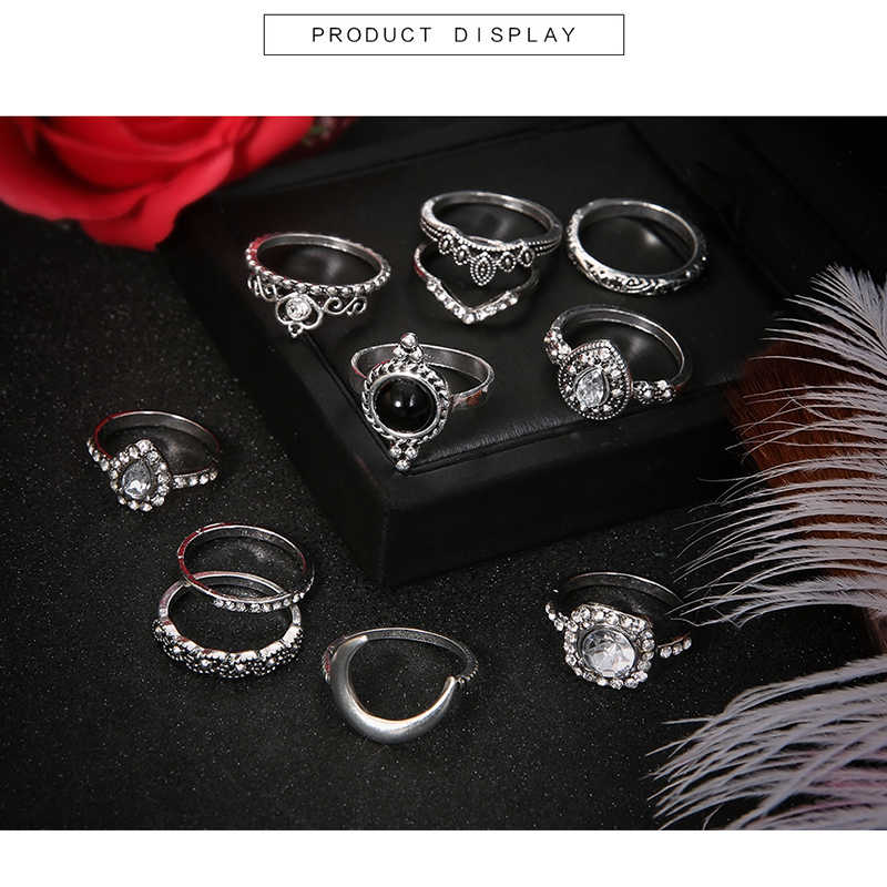 MYHFKK2019 ร้อน 11/ชุดสุภาพสตรีชุดเครื่องประดับ bohemian retro silver zircon แหวนอารมณ์เครื่องประดับสีดำแหวนชุดแหวนสุภาพสตรี JZ039