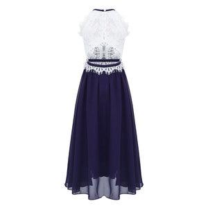 Image 3 - Çocuk Kız Halter Boyun Çiçek Dantel Düğme Kapatma Çiçek Kız Elbise Prenses Pageant Düğün Nedime Parti balo elbisesi Elbise