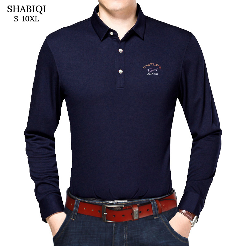 SHABIQI Classic Brand Men shirt Men   Polo   Shirt Men Long sleeve   Polos   Shirt T Designer   Polo   Shirt Plus Size 6XL 7XL 8XL 9XL 10XL