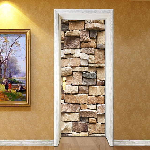 3D Stone Door Wall Sticker Waterproof Wallpaper Rocks Mural Removable Art Decals DIY Home Decoration FP8 : stone door group - pezcame.com
