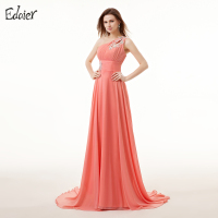 Plus Size Coral Bridesmaid Dresses Long 2017 A Line One Shoulder Sleeveless Appliques Lace Chiffon Backless