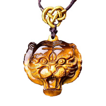 Drop Shipping Tigers Eye Stone Pendant Hand Carved Head Necklace With Chain Lucky Amulet Fine Jewelry For Men Women Gift