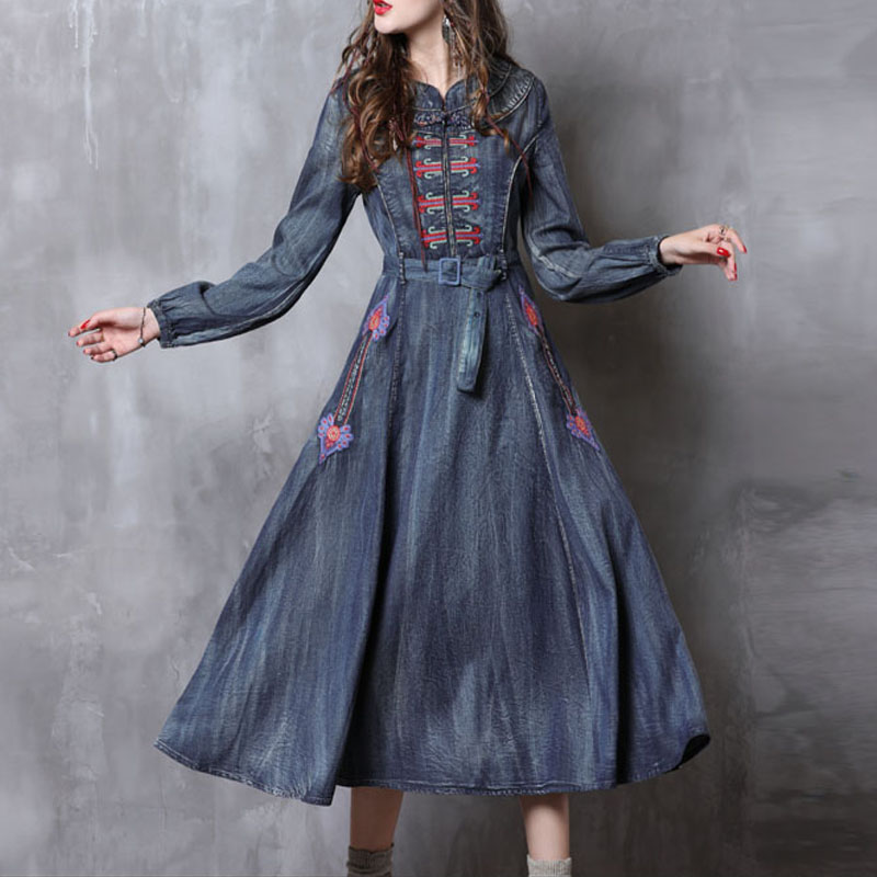 Free Shipping 2019 New Fashion Denim Dresses Women Long mid-calf Plus Size S-XL Vintage Chinese Style Jeans Embroidery Dresses