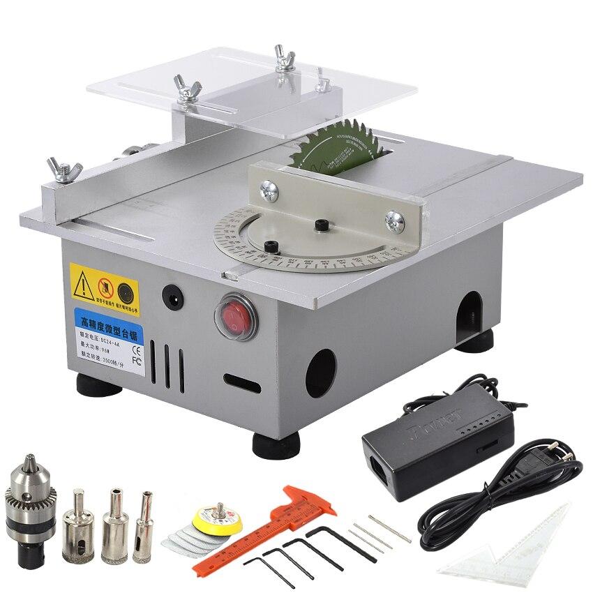 Mini Serra De Mesa Artesanal de Madeira Modelo DIY Polimento Ferramenta de Corte Da Liga de Alumínio Lâmina de Serra Circular Elétrica 7000 rpm DC24V